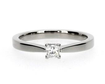 0.15ct Princess cut diamond engagement ring, white gold, platinum, diamond solitaire, yellow gold, simple diamond ring, princess wedding