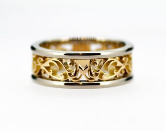ad2c43365a Wide two tone filigree wedding band, yellow gold ring, white gold band, men wedding  ring, man filigree ring, wide wedding band, art deco