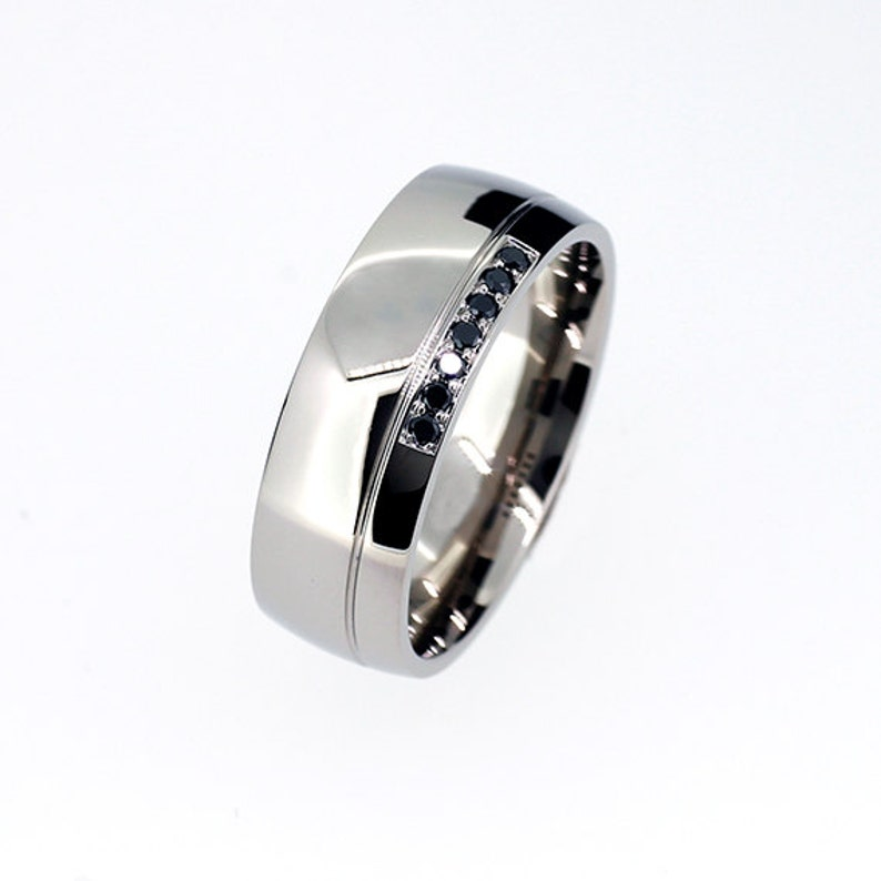 Black Diamond Ring Men Wedding Band Titanium Palladium Etsy