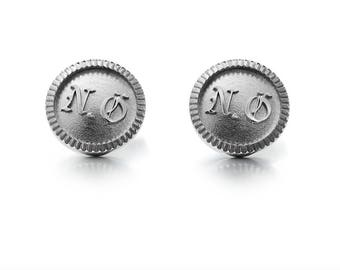 initials cufflinks made from Sterling silver, custom cufflinks, modern jewelry man, silver cufflinks, signet, personalized jewelry, unique