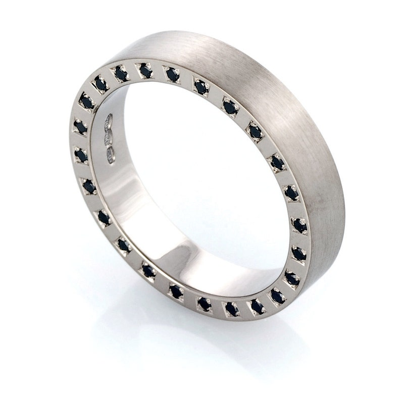 By Your Side Men S Wedding Band With Black Diamonds Man Etsy