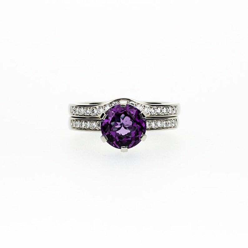 Amethyst Engagement Ring Set Diamond Wedding Ring Solitaire Etsy