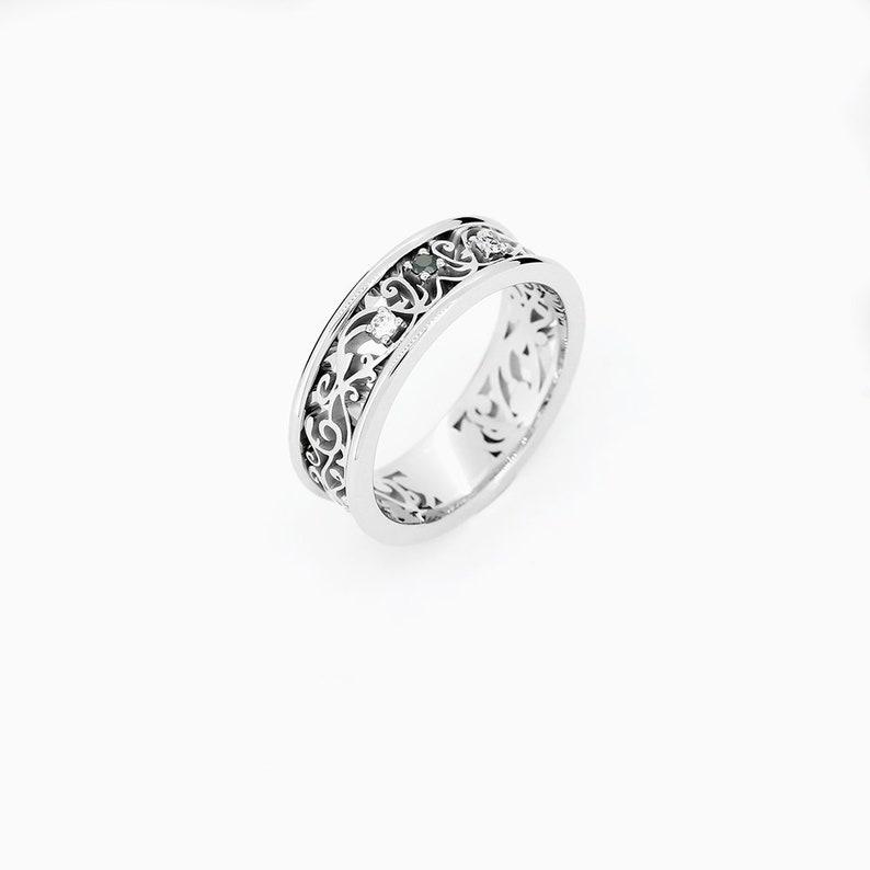 Filigree Wedding Band.Wide Black Diamond Filigree Wedding Ring In White Gold Gothic Ring Man Wedding Band Wide Wedding Ring Art Deco Black Engagement Floral