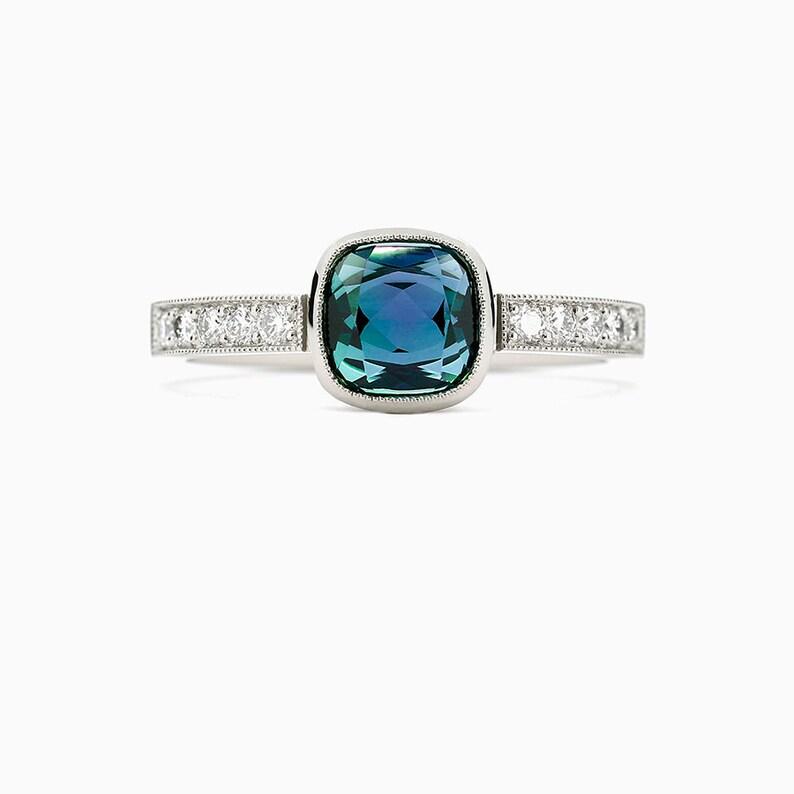 Cushion Cut London Blue Topaz Bezel Engagement Ring Palladium Platinum Gold Diamond Engagement Teal Engagement Solitaire Unique