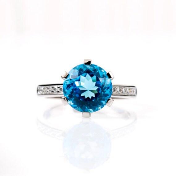 Schweizer Blue Topas Solitar Verlobungsring Diamant Etsy