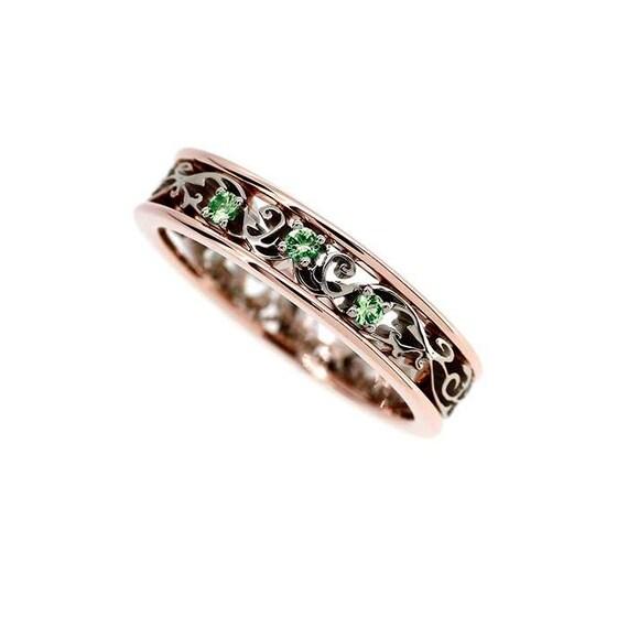 Rose Und Weissem Gold Filigran Ring Mit Grunen Diamanten Grune Etsy
