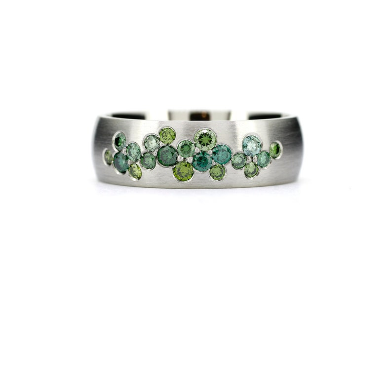 Diamond wedding band Green Diamond ring Green diamond image 0