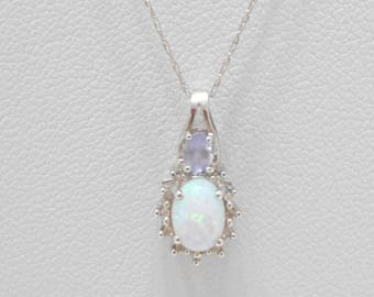 Gorgeous 10K White Gold Fiery Lab Created Opal Pendant Necklace (8247/B)