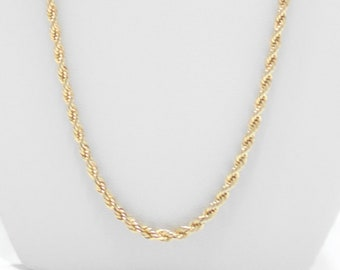 """Gorgeous Vintage 24"""" Gold Tone Twisted Chain Necklace (7662)"""