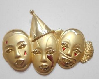 Vintage AJC Triple Clown Brooch (2222) Sad Clowns