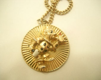 Vintage Circus Clown With Mallet Pendant Necklace (6861)