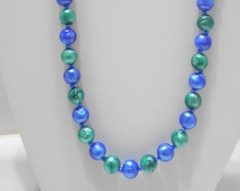 "Gorgeous 24"" Blue & Green Swirly Beaded Necklace (1768) 9mm"