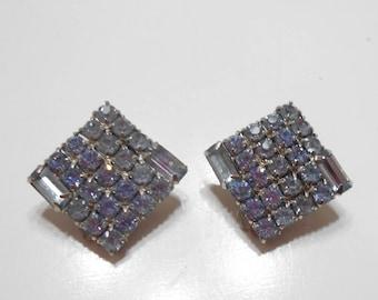 Vintage Blue Rhinestone Clip Earrings (2946)