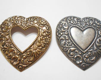 Two (2) Vintage Heart Brooches (4633)