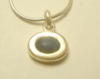 STERLING PENDANT (1548) ITALY.....Frosted Amethyst