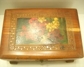 Vintage Footed (22) Floral Wooden Jewelry Or Trinket Box