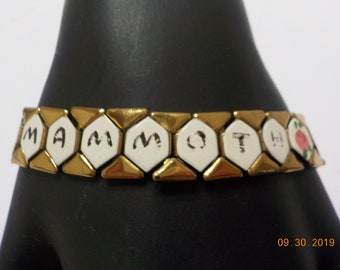 Vintage Gold Tone Hinged Bracelet Mammoth Cave 4153 Ky Hand Painted