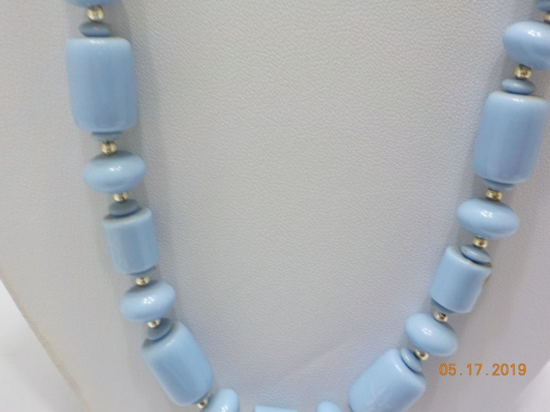 313 Vintage 24 Baby Blue Beaded Necklace