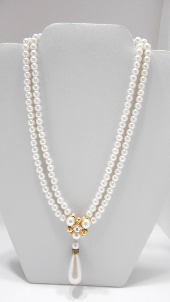 Vintage Faux Pearl Choker Necklace (5521) Dangling