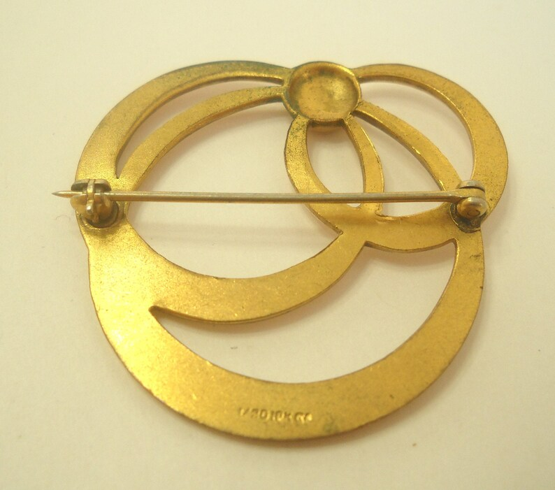 Vintage Gold Filled Triple Circle Brooch 6714