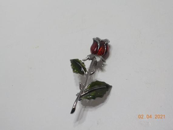 LIZ CLAIBORNE Rose Pin Enamel Red Rose Pin Silver Tone Pink Rhinestones