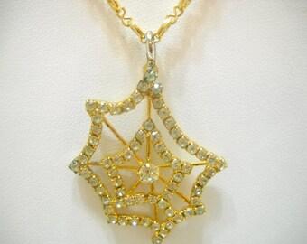 Vintage 14KGP Rhinestone Spider Web Pendant Necklace (3352)