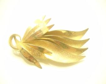 Brushed & Smooth Gold Tone Leaf Brooch (2042)