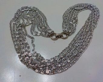 Vintage 1966 Sarah Coventry Silvery Cascade Choker Necklace (2061) Eight Strands