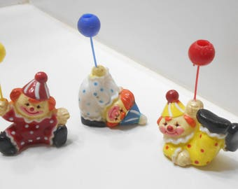 Vintage Three Plastic Clowns Cake Toppers (1692)