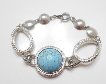 Vintage Silver Tone Faux Turquoise Bracelet (7209)
