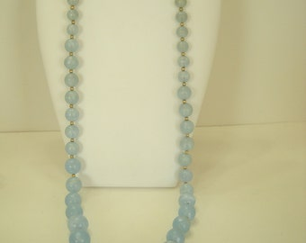 "Vintage 30"" Frosted Blue Beaded Necklace (6250)"