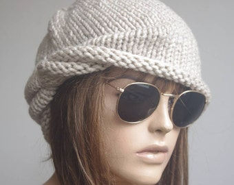 Womens Hats winter hat chemo Hat beret Women Hat cable beige Beanie Cable  Women Hat Oversized Hat Cable Hat Chunky Knit Hat 76461c0638f5