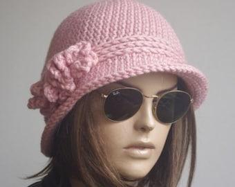 499c927b1e5 womens hats winter hat chemo hats gifts for her brimmed winter hat pink  brim hat bucket Cloche Women crochet hat Winter