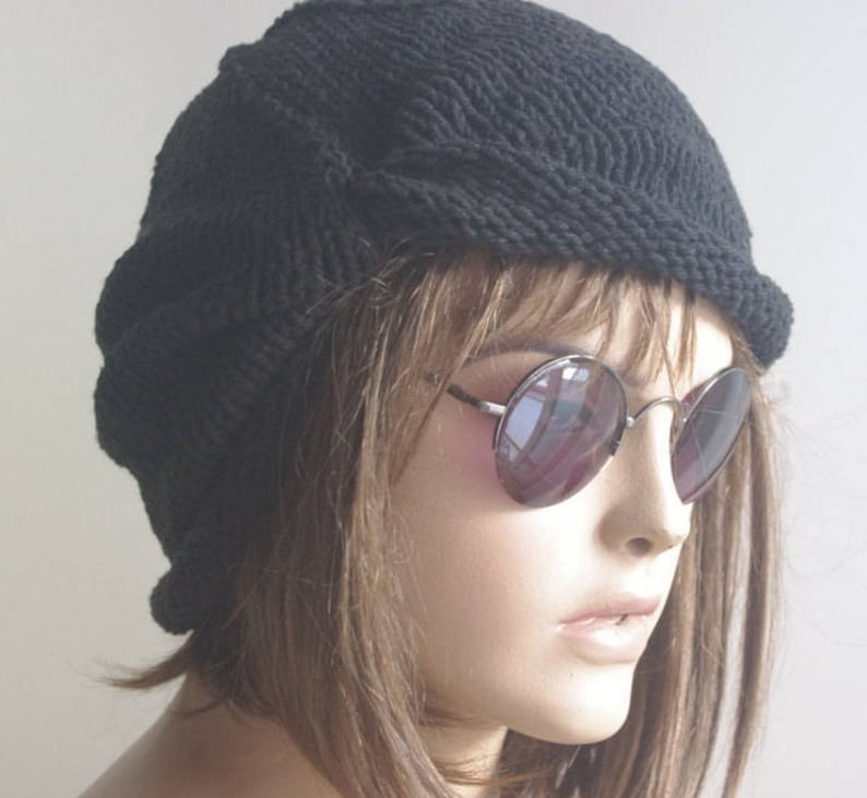 320350ef2fe Womens Hats chemo Hat knit hat black cotton Hat cable Slouch