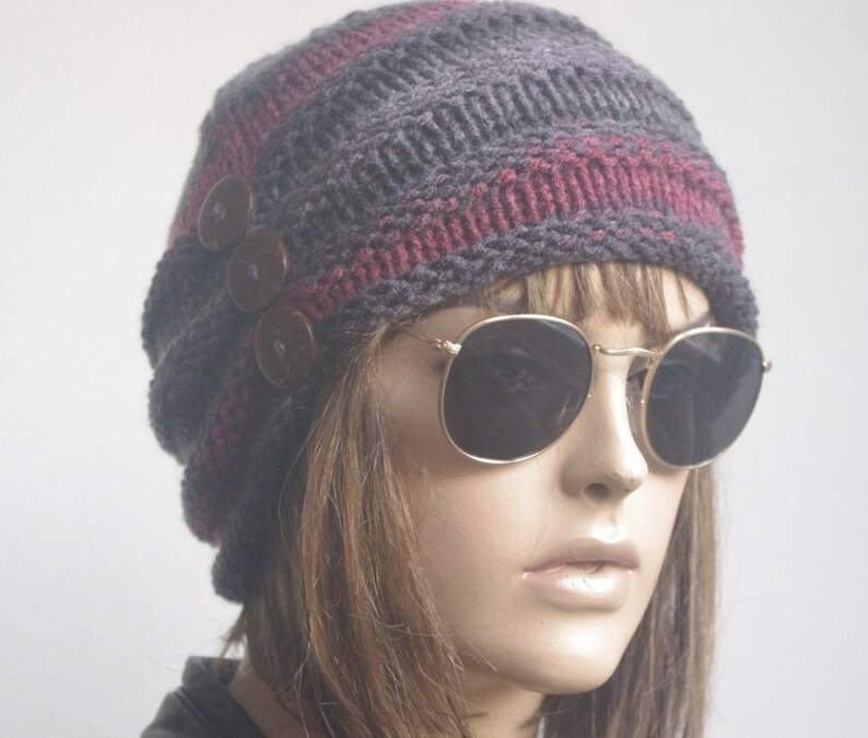 57071554b9e Winter hats Womens Hats chemo Hat knit hat brown flower Hat