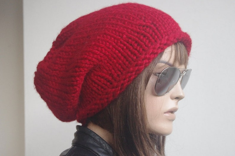 Women Slouchy Hat valentines day Womens hats winter hat oversize cable Knit Hat red Winter Accessories