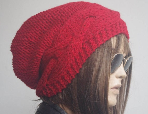 b4db50d2 Womens hats winter hat oversize cable Knit Hat red Winter | Etsy