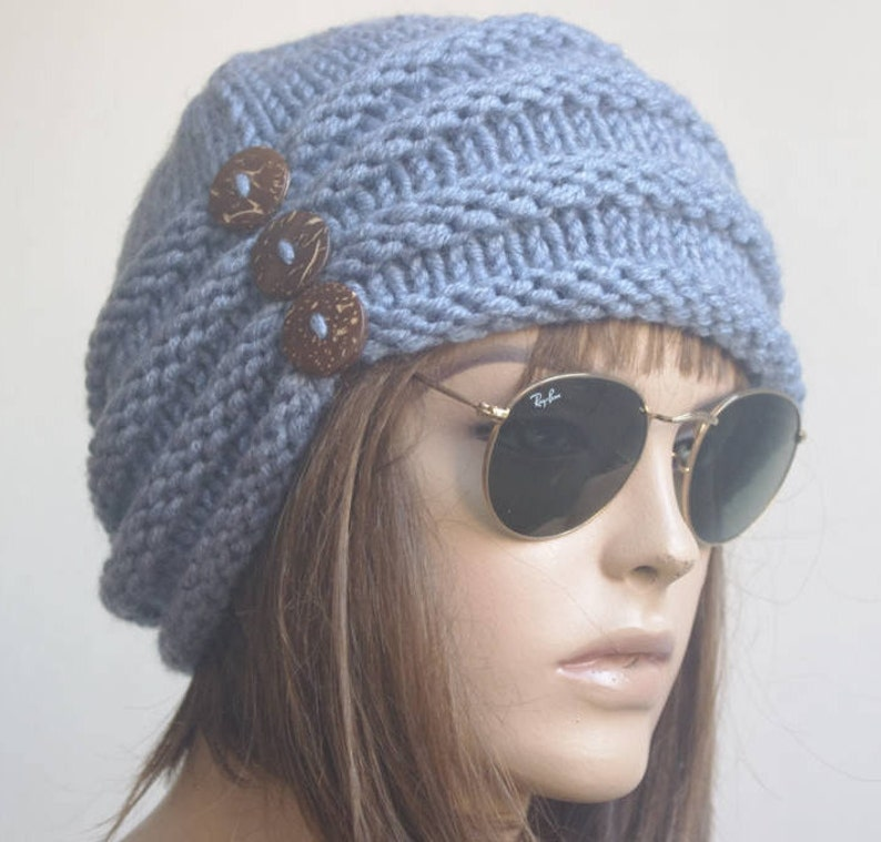 4b0a1b69b50 Womens Hats winter chemo Hat beret Hat blue Women Hat cable