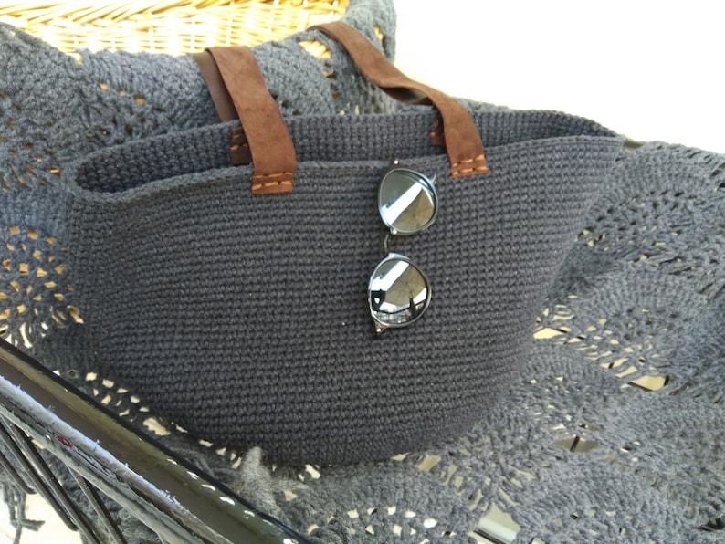 hobo bag dark gray farmers market tote market tote bag Crochet boho  bag crochet handbag beach bag crochet tote bag beach tote bag