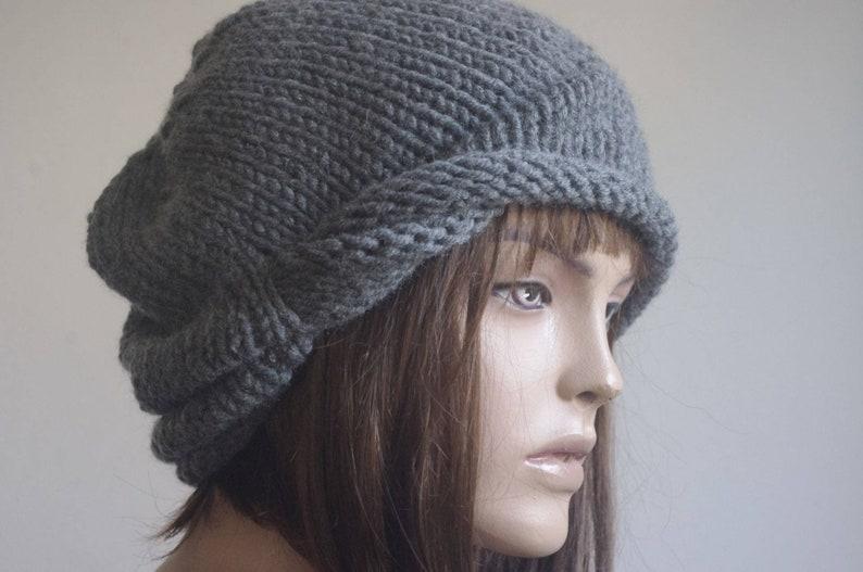5184d76493d Womens Hats chemo Hat beret Hat dark gray Women Hat cable