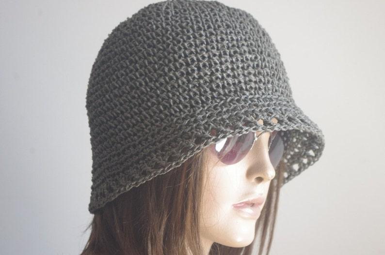 1d670a87889 Hand Crochet Hemp Women hat bucket hat Crochet Summer Hat