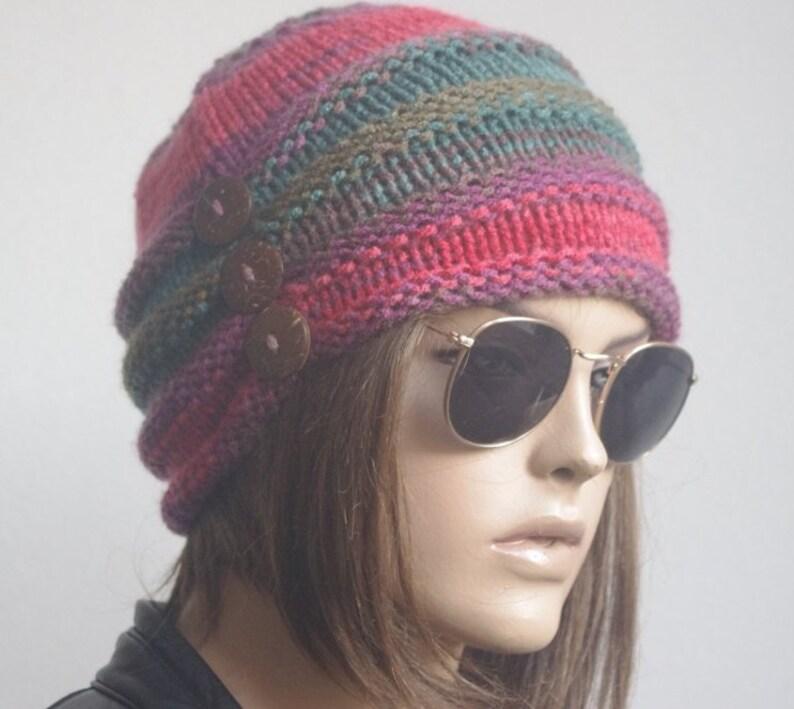 94b7fbd4777 Winter hats Womens Hats chemo Hat knit hat brown flower Hat