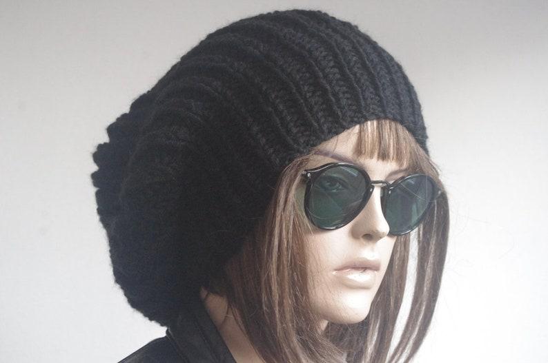 4f964c7e2de Womens hats winter hats Black Slouchy Hat Woman hippie Knit