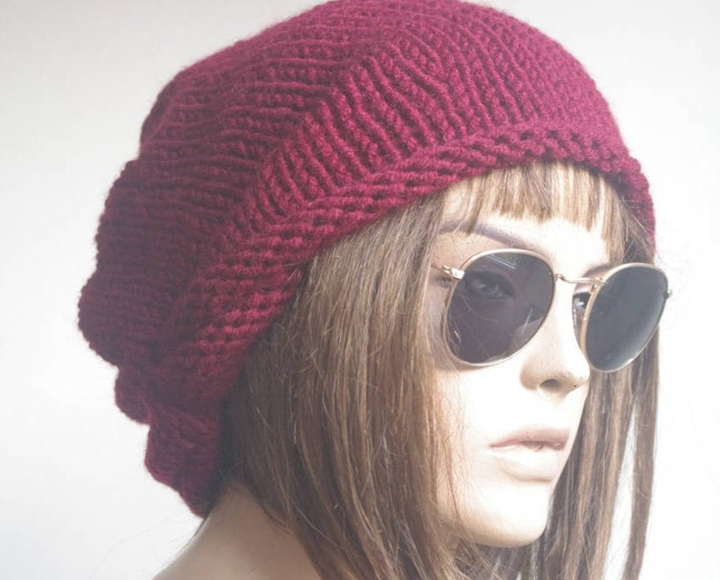 343bc1d398bf1 Womens Hats chemo Hat beret Hat burgundy Women Hat cable