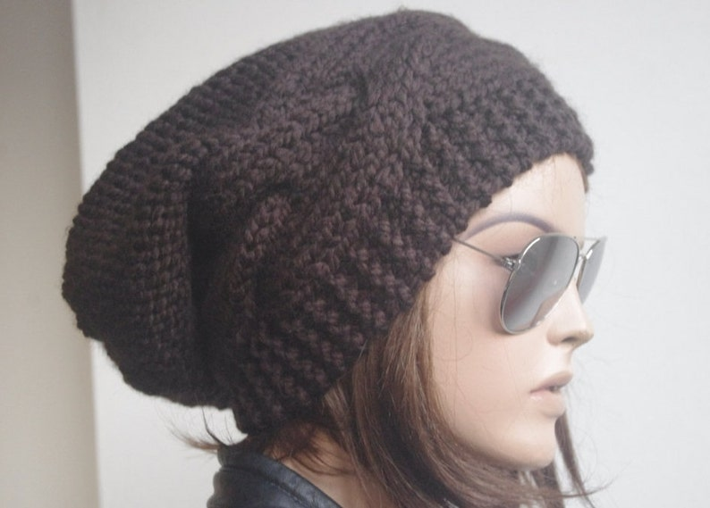 8fa58820c73 Womens hats winter hat oversize cable Knit Hat dark brown