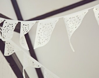 Lace wedding bunting, great venue decoration or photo prop