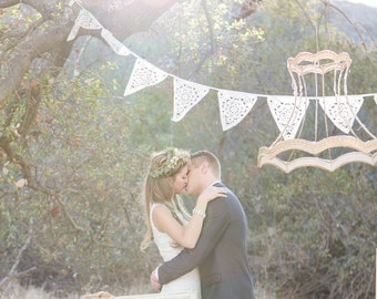 Beautiful wedding garland, cream lace garland, bridal shower decoration