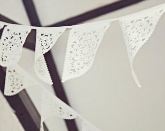 White Wedding fabric bunting, White lace garland