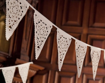 Cream Wedding bunting, new vintage decorations. Luxury lace bridal decoration