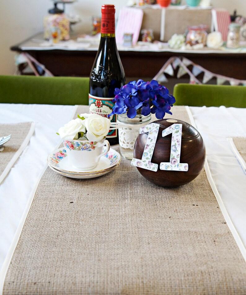 Wedding Table Runners Burlap White Satin Trim Rustic Etsy